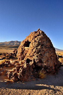 Landscape with a Chullpa / funeray tower. Ceremonial tomb from between 1200-1450 AD, San Juan del Rosario, Bolivia.