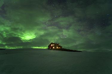 Kviar Tourist Lodge with Aurora, Hornstrandir Nature Reserve, Iceland. May 2018