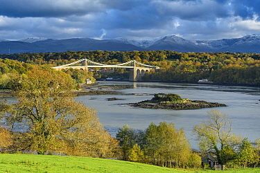 Menai Strait and Telford suspension bridge. Isle of Anglesey, Wales, October 2018.