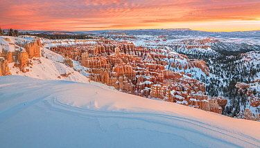 Landscape of wind blown snow and canyons at dawn. Inspiration point, Bryce Canyon National Park, Utah, USA, January.