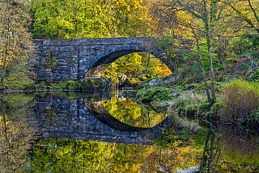 Beaver Bridge over River Conwy in autumn near Betws-y-Coed, Snowdonia National Park, North Wales UK, October 2018.