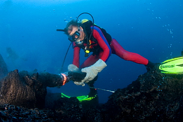 Diver shaping erupting pillow lava by hand to form underwater lava sculptures at ocean entry from Kilauea Volcano, Hawaii.