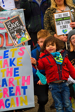 Children protesting climate change at 'Strike 4 Climate Change' March. Shrewsbury, England, UK. March 2019. Editorial use only.