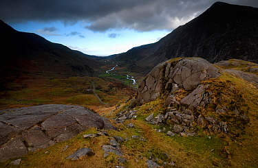 Roche moutonnee or Sheep's back at the head, Nant Ffrancon Valley, Snowdonia, Wales, UK, November. The rock is carved by ice moving down the valley leaving a relatively smooth back edge and top, w...