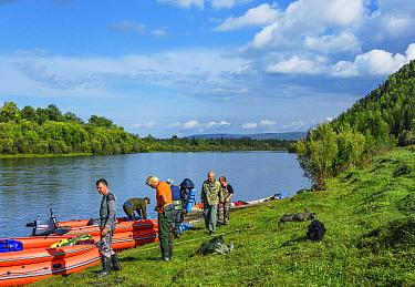 Expedition on RIB boats on the Lena River, Baikalo-Lensky Reserve, Siberia, Russia. August 2018.