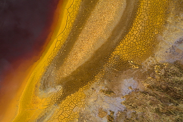 Aerial view of Rio Tinto, an acidic river with high iron levels resulting in red and orange colours. Photographed for The Freshwater Project extended. Andalucia, Spain. April 2019.