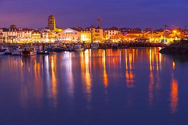 Coastal town of Saint-Jean-de-Luz, view across sea. Pyrenees Atlantiques, Nouvelle-Aquitaine, France. December 2014.