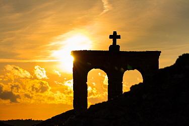 Sun setting behind Castelo Mendo. Middle Coa, Archaeological Park of the Coa Valley, Western Iberia, Portugal. April 2016.