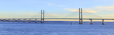 Prince of Wales Bridge, suspension bridge carrying M4 motorway across River Severn between Monmouthshire, Wales and Gloucestershire, England, UK. 2018. Digitally stitched image.