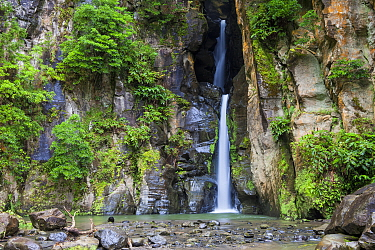 Salto do Cabrito waterfall. Lombadas Valley Nature Reserve, Sao Miguel Island, Azores, Portugal.