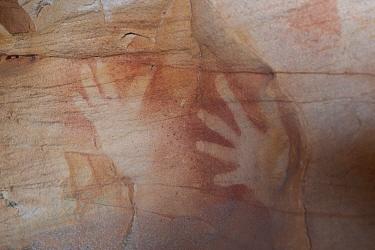 Wandjina Aboriginal rock art, depiction of hands of the Wunambal Gaambera / Uunguu people. Wary Bay, Bigge Island, Bonaparte Archipelago, The Kimberley, Western Australia. 2015.