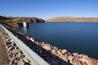 Lake Argyle reservoir, part of Ord River irrigation scheme. Hydro electric power generation at dam. 2015.