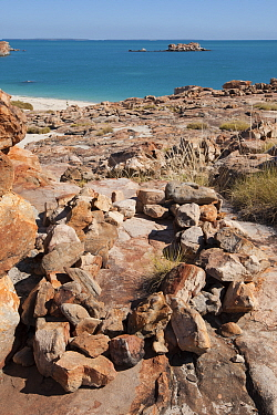 Coastal rock grave site of the Wunambal Gaambera / Uunguu people. Wary Bay, Bigge Island, Bonaparte Archipelago, The Kimberley, Western Australia.
