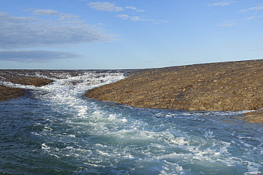 Water running off Montgomery Reef with changing tide. Doubtful Bay, The Kimberley, Western Australia. 2015.