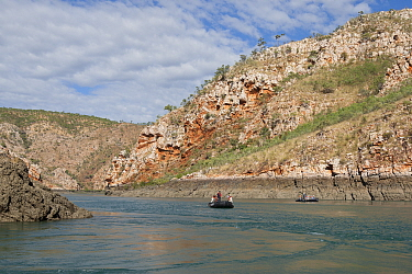Tourists in zodiac on Cyclone Creek. Talbot Bay, The Kimberley, Western Australia. 2015.