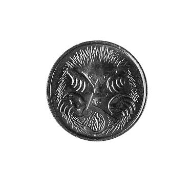 Echidna (Tachyglossidae aculeatus) on Australian 5 cent coin. 2019.