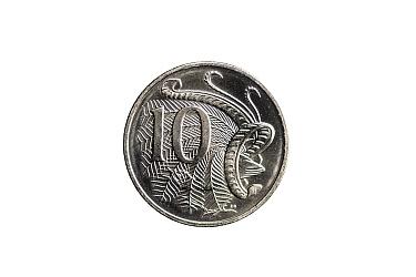 Superb lyrebird (Menura novaehollandiae) male on Australian 10 cent coin. Designed and sculpted by Stuart Devlin. 2019.