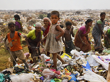 Women and children picking through rubbish on landfill site, residents of the site. Guwahati, Assam, India. 2009.