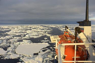 Lifeboat on Akademik Shokalskiy ship, ship heading eastwards through sea ice towards Cape Adare, East Antarctica. January 2018.