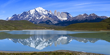 Towers and Central Massif reflected in Laguna Amarga, Torres del Paine National Park, Patagonia, Chile. November 2018.