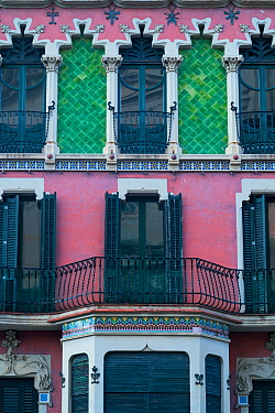 House built in Catalan Modernist style, Olot, La Garrotxa Natural Park, Girona, Catalonia, Spain. 2019.