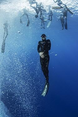 People learning to freedive in Atlantic Ocean. Tenerife, Canary Islands. 2015.
