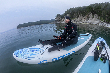 Woman paddleboarding in Vrangel Bay to get close to Bowhead whale (Balaena mysticetus). Primorsky Krai, Russia. August 2019.
