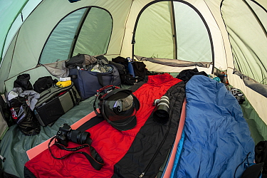 Photographic equipment ready inside tent in Vrangel Bay where Bowhead whale (Balaena mysticetus) congregate every summer. Primorsky Krai, Russia. August 2019.