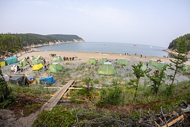 Camp with tents on beach in Vrangel Bay where Bowhead whale (Balaena mysticetus) congregate every summer. Primorsky Krai, Russia. August 2019.