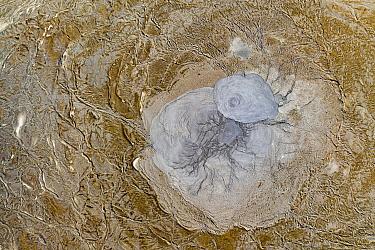 Aerial view of mud volcano, Azerbaijan