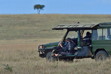 Camerawoman waiting in vehicle, looking out over the savanna, Masai Mara, Kenya. March.
