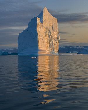 Iceberg at sunset, Northwest Fjord, Scoresby Sund, Greenland, August.