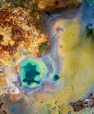 Aerial veiw of a hot spring in the Gunnuhver geothermal area, Iceland.