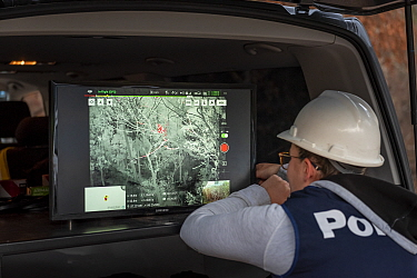 Member of the Victorian Police Remote Piloted Aircraft Systems (Police Air Wing, Specialist Response Division) looking at a screen which is displaying an infra red image, sent via a drone, of a Koala...