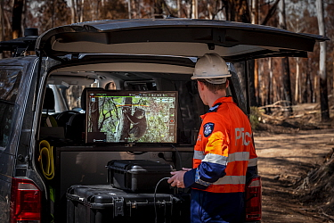 Member of the Victorian Police Remote Piloted Aircraft Systems (Police Air Wing, Specialist Response Division) looking at a screen which is displaying an image sent via a drone of a koala (Phascolarct...