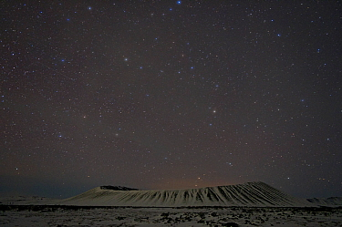 Hverfjall crater at night, Myvatn, Iceland, March 2011