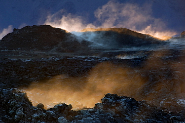 Acidic steam and solidified lava surface at Leirhnjukur, Iceland 2008