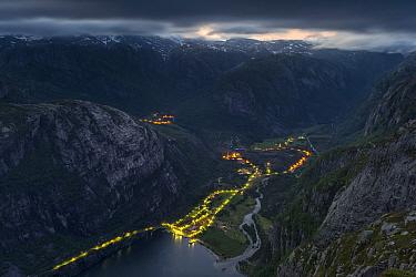 Street lights in Lysebotn at night viewed from Kjerag, Lysefjorden, Forsand, Rogaland, Norway, June 2012.
