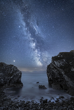 Milky Way over Stair Hole, Lulworth, Jurassic Coast World Heritage Site, Dorset, England, UK, August.