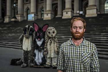 ?Campaign coordinator for GECO (Goongerah Environment Centre Office) Ed Hill and three protesters in costumes protesting against logging in East Gippsland on the steps of the Victorian Parliament??. ?...