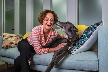 ?Glenys Oogjes, CEO of Animals Australia - one of Australia's most experienced animal advocates - with Blue the Grey', a rescued greyhound, ??March 2017, ?Animals Australia Office, North Melbourne...