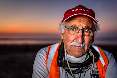 Portrait of Laurie Levy, Head of the Coalition Against Duck Shooting, standing on the shoreline of the Kerang Wetlands, Victoria, Australia, to protest the start of another duck hunting season. Concer...