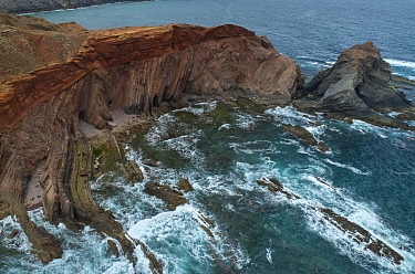 Angular unconformity on the coast. Marking two very distinct geologic periods, where the rocks formed under very different conditions, Ponta do Telheiro, Portugal. This shows a Variscan unconformity b...