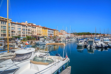 Pleasure boats in marina / yacht basin at Port-Vendres, Mediterranean fishing port along the Cote Vermeille, Pyrenees-Orientales, France. September 2018