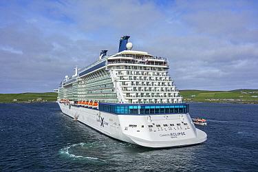 Cruise ship departing Lerwick harbour, Shetland Islands, Scotland, UK. June 2018