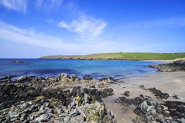 Sandy beach at West Sandwick on the Isle of Yell, Shetland Islands, Scotland, UK, May