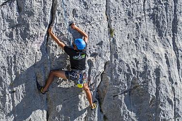 Rock climber climbing rock face in the Gorges du Verdon / Verdon Gorge canyon, Alpes-de-Haute-Provence, Provence-Alpes-Cote d'Azur, France, September 2018