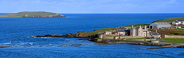 Panoramic view over the island Mousa and Sand Lodge at Leebotten, Sandwick, Shetland Islands, Scotland, UK. May 2018
