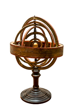 17th century Copernican, armillary sphere / spherical astrolabe, a spherical framework of rings, centred on the Sun
