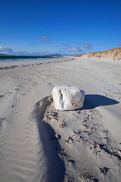 White foam block washed up from by Atlantic ocean. North Uist, Outer Hebrides, Scotland, UK, June.